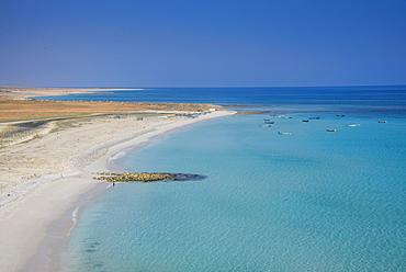 Coastline with white sand beach, island of Socotra, Yemen, Asia