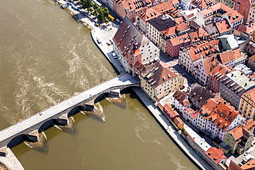 Aerial view, old town with the Steinernen Brucke bridge over the Danube, Bruckentor Bridge Gate and the Salzstadl, Regensburg, Upper Palatinate, Bavaria, Germany, Europe