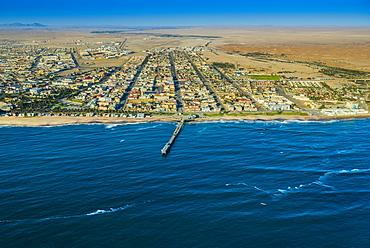 Aerial view, Swakopmund, Jetty and downtown, Erongo region, Namibia, Africa