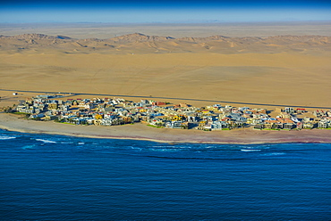 Aerial view, Dolfynstrand, district Langstrand, district of Walvis Bay, seaside resort, Namib Desert, Erongo region, Namibia, Africa