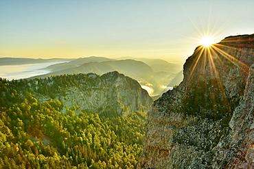 Creux du Van, rock face at sunrise, Le Soliat, canton of Jura, Switzerland, Europe