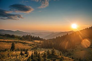 Sunrise in the mountains, Carpathian Mountains, Zakarpattia Oblast, Ukraine, Europe