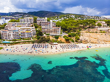 Aerial view, Puerto Portals luxury marina, Platja de s' Oratori and Illa d'en Sales beach, Portals Nous, Palma de Majorca region, Majorca, Balearic Islands, Spain, Europe