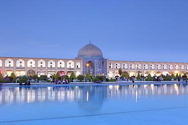 Dome of Lotfollah mosque, Imam square at dusk, Isfahan, Iran, Asia