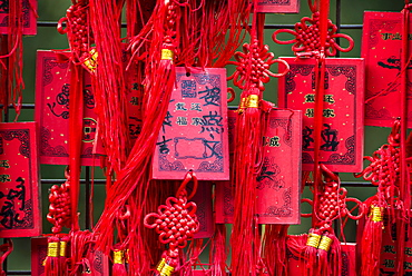 Red Chinese wishing cards, Beijing, China, Asia