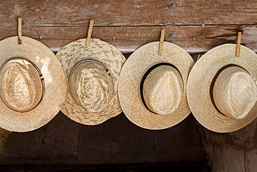 Straw hats for sale, farmer's market in Sineu, Majorca, Balearic Islands, Spain, Europe