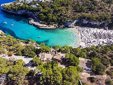 Aerial view, beach, bay Cala Llombards, Majorca, Balearic Islands, Spain, Europe