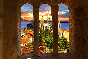 View from St John Church tower over the medieval roof tops of Rab town, Rab Island, Primorje-Gorski Kotar County, Croatia, Europe