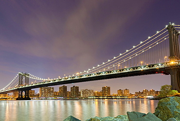 Manhattan Bridge with views of Manhattan, New York City, New York, United States, North America