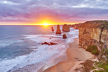 Coast with twelve apostels at Great Ocean Road at sunset, New South Wales, Australia, Oceania