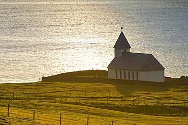 Church by the sea, Vioareioi, Viooy, Faroe Islands, Denmark, Europe