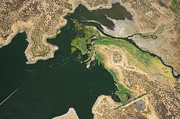 Aerial view, lake shore, wetland, Quixada area, Ceara, Brazil, South America