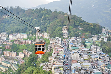 Gondola of a cable car and the town of Gangtok, aerial view, Sikkim, Himalayas, India, Asia