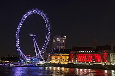 London Eye at night, London, England, United Kingdom, Europe