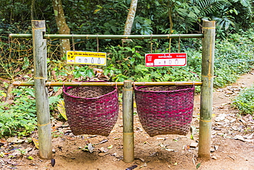 Baskets for rubbish, trashbin, waste separation, indeed Kuang Si waterfalls, Luang Prabang, Luang Prabang Province, Laos, Asia