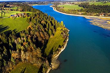 Reservoir Premer Lechsee, Lech, Prem, Ostallgau, Bavaria, Germany, Europe