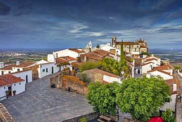Mountain village with church Santa Maria da Lagoa, Monsaraz, Alentejo, Portugal, Europe