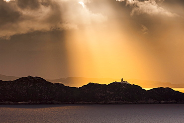 Sunset at the lighthouse of Rona, Strathcarron, Inner Hebrides, Scotland, Great Britain