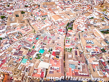 Aerial view of houses in the strict city center of Cordoba, Andalusia, Spain, Europe