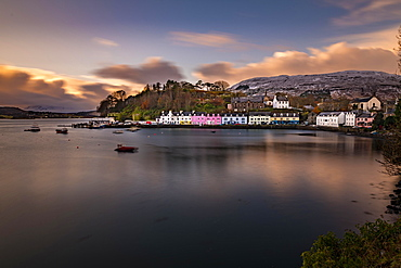 Port of Portree with boats in the foreground, Portree, Isle of Skye, Scotland, United Kingdom, Europe