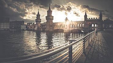 Oberbaum Bridge at Warschauer Strasse, Berlin, Germany, Europe