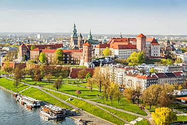 City view with Wawel Royal Castle, Krakow, Poland, Europe