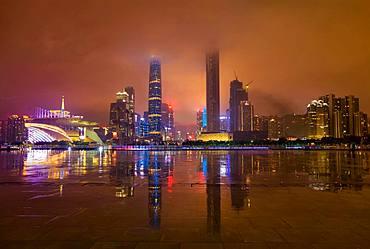 Skyline at night, Guangzhou, Guangdong, China, Asia
