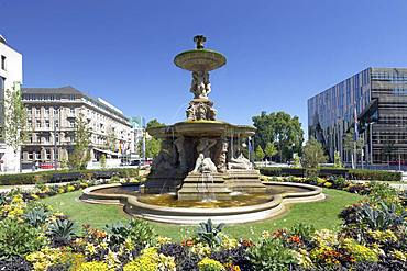 Schalenbrunnen at Corneliusplatz, Koe, Koenigsallee, Duesseldorf, Rhineland, North Rhine-Westphalia, Germany, Europe