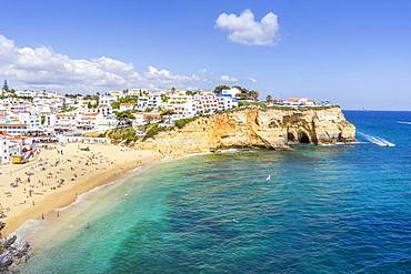 Sandy beach and white houses, Carvoeiro, Algarve, Portugal, Europe