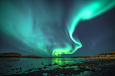 Northern Lights, Borgarnes, Snaefellsnes, Iceland, Europe