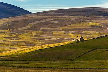 Landscape with old ruins from the time of the Highland Clearances, Highlands, Scotland, Great Britain
