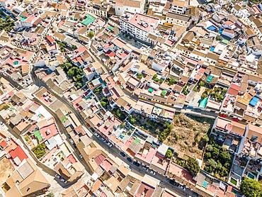 Architectural pattern of little Spanish town, drone image, Almodovar del Rio, Andalusia, Spain, Europe