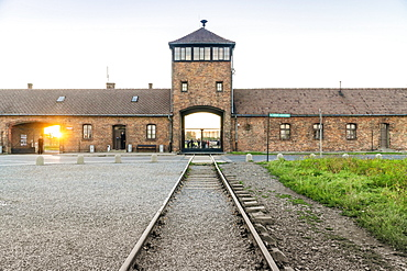 Railway leading to main entrance of Auschwitz concentration camp, museum nowadays, Poland, Europe