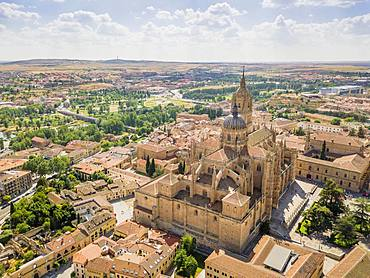 Drone image of Salamanca with new and old cathedral, Spain, Europe