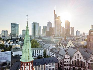 Old town and downtown with highrises during sunny day in Frankfurt am Main, Germany, Europe