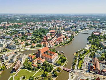 Drone image of the oldest, historic part of Wroclaw located mostly on the islands, Poland, Europe