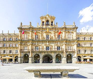 Plaza Mayor square with Town Hall, Salamanca, Castile and Leon, Spain, Europe