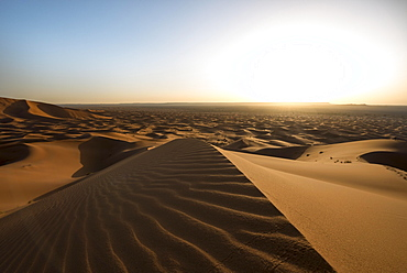 Sand dunes in the desert, wave patterns in the sand, dune landscape Erg Chebbi, Merzouga, Sahara, Morocco, Africa