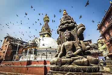Kathesimbhu Stupa, Buddha Statue, Pigeons, Kathmandu, Nepal, Asia