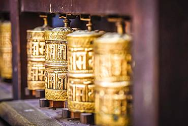 Buddhist Prayer Wheels, Golden Temple, Patan, Kathmandu Valley, Himalaya Region, Nepal, Asia