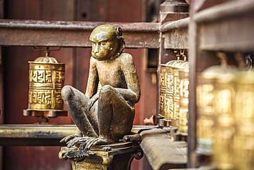 Buddhist Prayer Wheels, Monkey, Golden Temple, Patan, Kathmandu Valley, Himalaya Region, Nepal, Asia