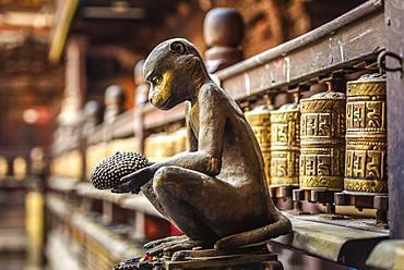 Buddhist Prayer Wheels, Monkey, Golden Temple, Patan, Kathmandu Valley, Himalaya Region, Nepal, Asia