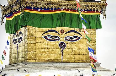 The eyes of Buddha on Stupa, Monkey Temple Swayambhunath, Kathmandu, Nepal, Asia