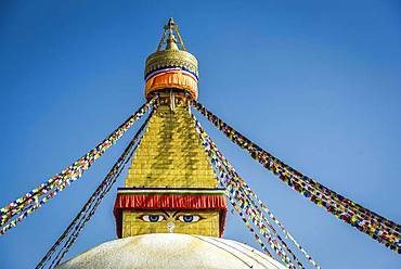 Buddha's Eyes on Boudhanath Stupa, Boudha, Tibetan Buddhism, Kathmandu, Nepal, Asia
