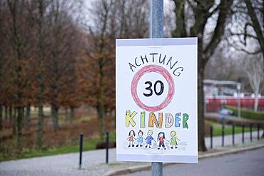 Sign for Tempo 30 in front of Kindergarten, speed limit, Thuringia, Germany, Europe