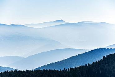 Staggered mountain ranges in the haze, am Hohneck, Col de la Schlucht, Vosges, Alsace-Lorraine, France, Europe