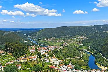 View from the viewpoint Penedo de Castro to the city Penacova at the river Mondego, Penacova, district Coimbra, Portugal, Europe