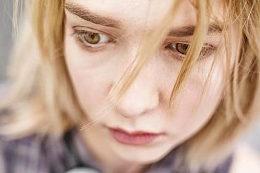 Young blonde woman, teenager, portrait, North Rhine-Westphalia, Germany, Europe