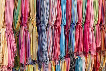 Colored cloths for sale, street market Sineu, Majorca, Balearic Islands, Spain, Europe