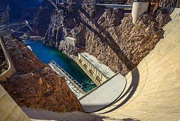 Dam of the Hoover Dam, Hoover Dam, Dam, near Las Vegas, Colorado River, Boulder City, formerly Junction City, Arizona border, Nevada, USA, North America